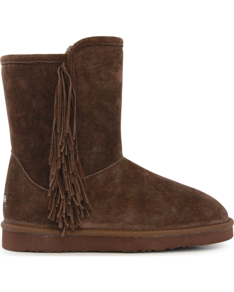 Lamo Women's Sellas Short Fringe Winter Boots - Round Toe, Chocolate, hi-res