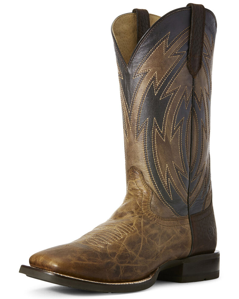 Ariat Men's Crossdraw Dusted Western Boots - Wide Square Toe, Wheat, hi-res