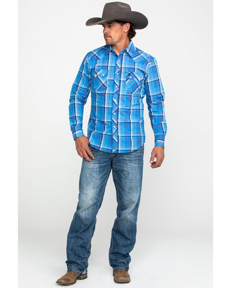 Wrangler Retro Men's Blue Large Plaid Long Sleeve Western Shirt - Tall, Blue, hi-res