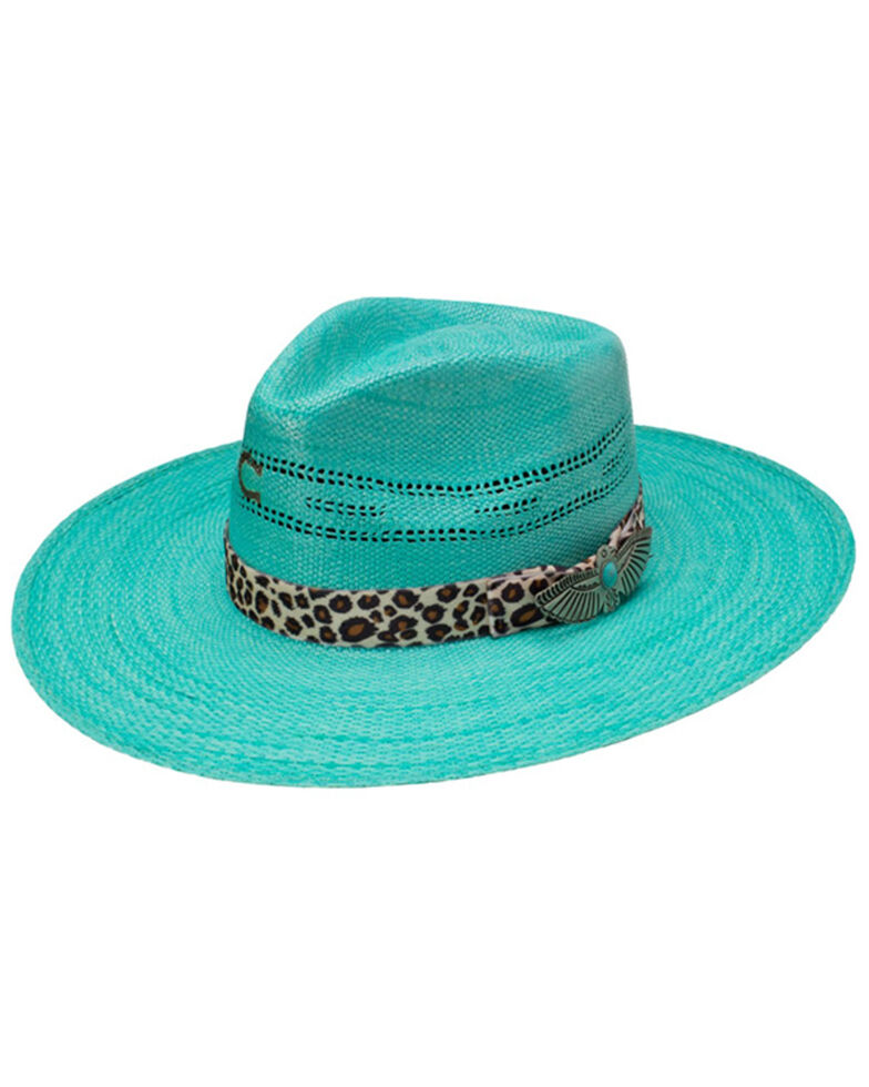 Charlie 1 Horse Women's Right Meow Bangora Straw Printed Western Hat , Turquoise, hi-res
