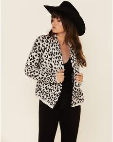 Shyanne Women's Leopard Print Fringe Cardigan Sweater , Cream/black, hi-res