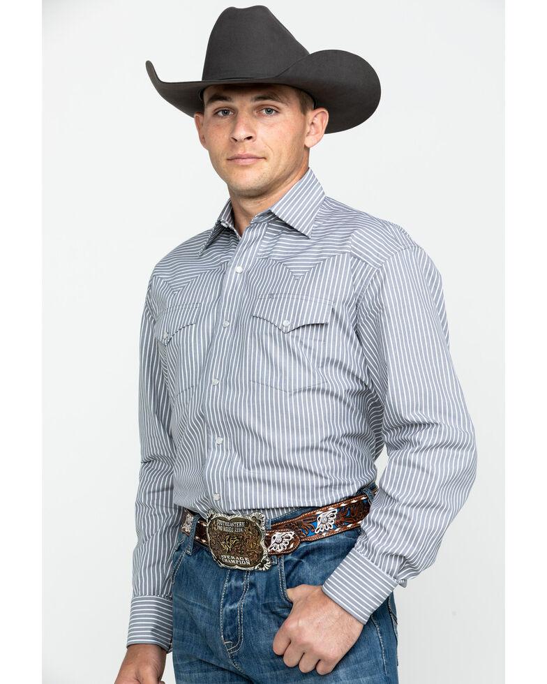 Stetson Men's Grey Striped Two Pocket Long Sleeve Western Shirt, Grey, hi-res
