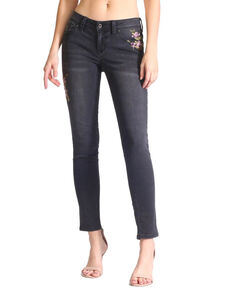 Grace In LA Women's Floral Pocket Hip Embroidered Skinny Jeans , Black, hi-res