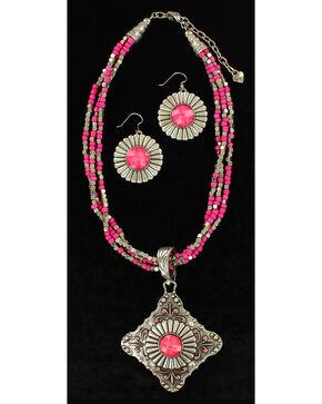 Blazin Roxx Multi-Strand Triangle Pendant Necklace & Earrings Set, Pink, hi-res