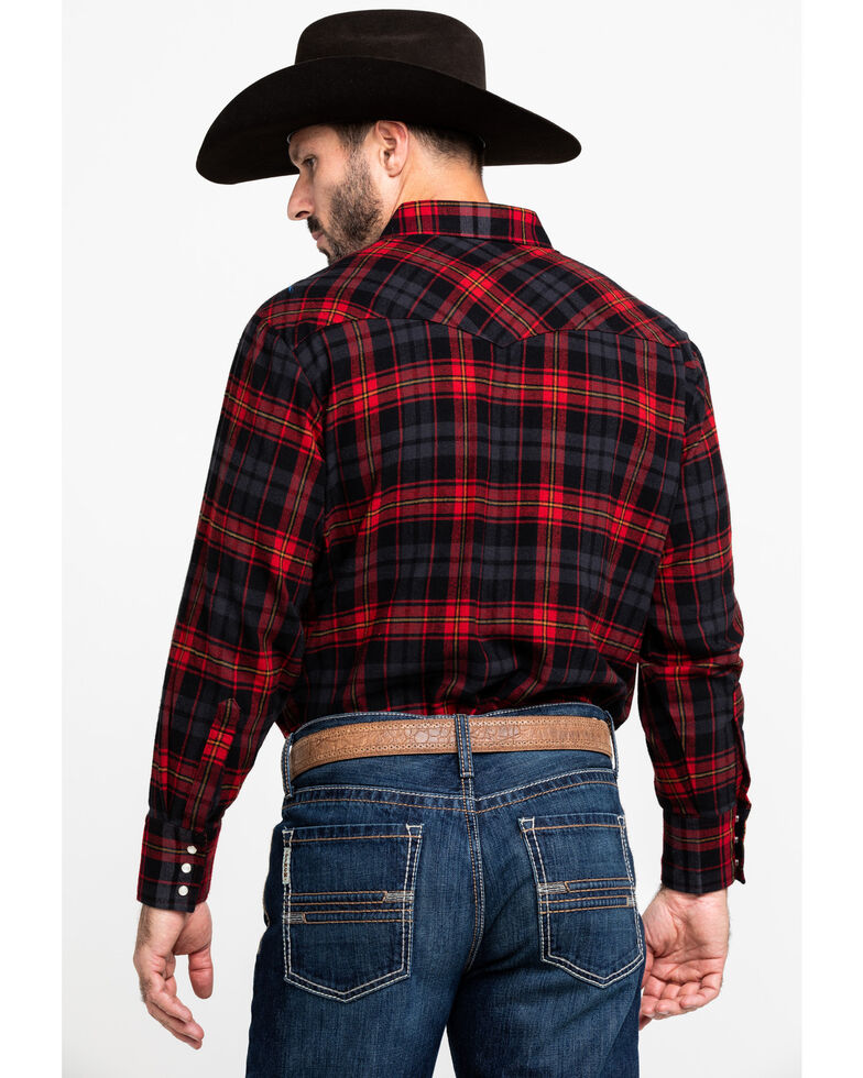 Ely Cattleman Men's Assorted Red Large Plaid Woven Long Sleeve Western Shirt - Tall , Red, hi-res