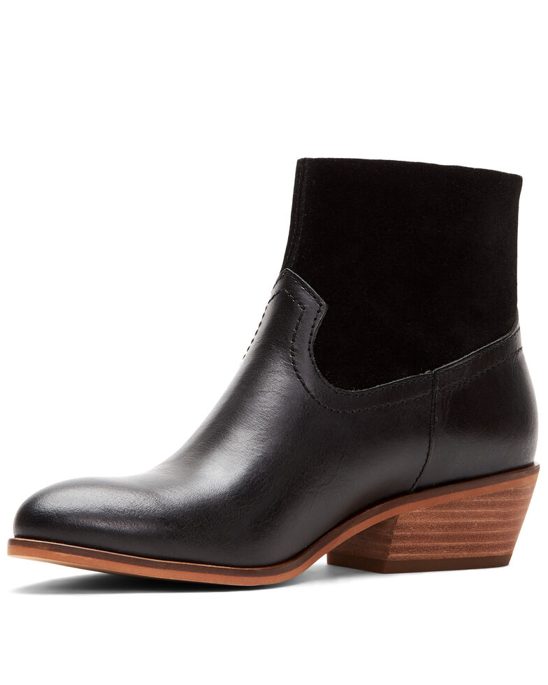 Frye & Co. Women's Black Rubie Side Zip Leather Booties - Round Toe , Black, hi-res