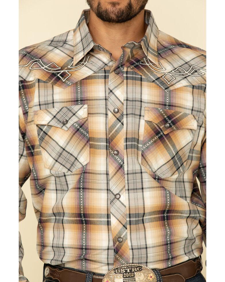 Rock 47 By Wrangler Men's Tan Large Plaid Long Sleeve Western Shirt , Tan, hi-res