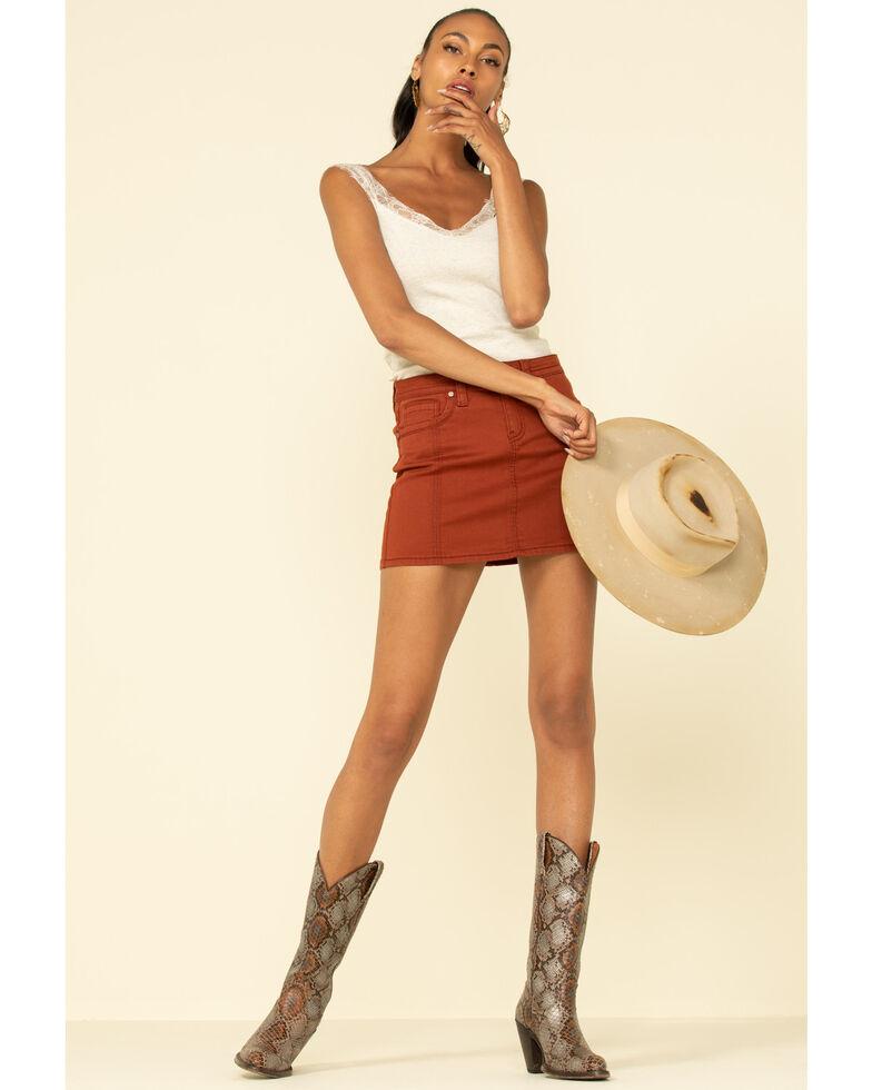 Shyanne Women's Rust Copper Denim Mini Skirt , Rust Copper, hi-res