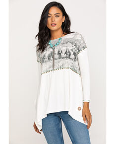 Double D Ranchwear Women's Point, Swing, Flank & Drag Top, White, hi-res