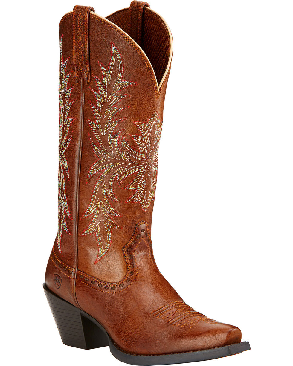 Ariat Round Up Maddox Cowgirl Boots - Snip Toe , Wood, hi-res