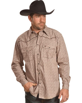 Cowboy Hardware Men's Mini Paisley Long Sleeve Western Snap Shirt, Brown, hi-res