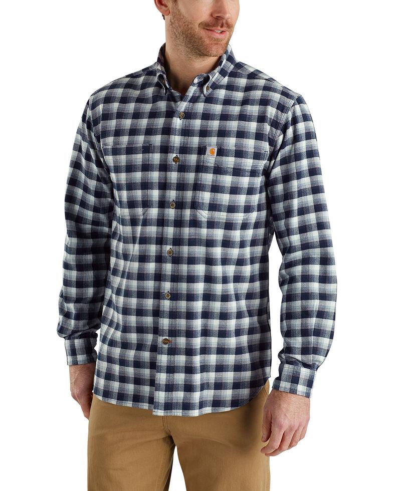 Carhartt Men's Rugged Flex Hamilton Plaid Long Sleeve Work Shirt - Big & Tall, Navy, hi-res