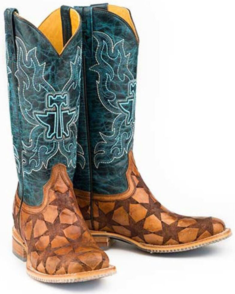 Tin Haul Women's Wish Upon A Star Western Boots - Wide Square Toe, Tan, hi-res