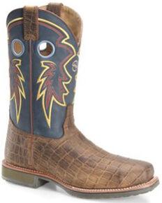 Double H Men's Tyler Western Work Boots - Steel Toe, Brown, hi-res