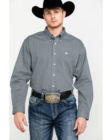 Cinch Men's Grey Tencel Geo Print Long Sleeve Western Shirt - Big , Grey, hi-res