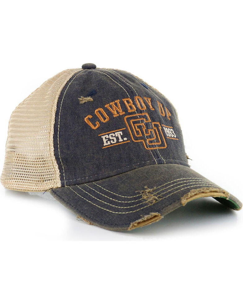 Cowboy Up Men s Distressed Vintage Trucker Ball Cap - Country Outfitter de1a487ef22