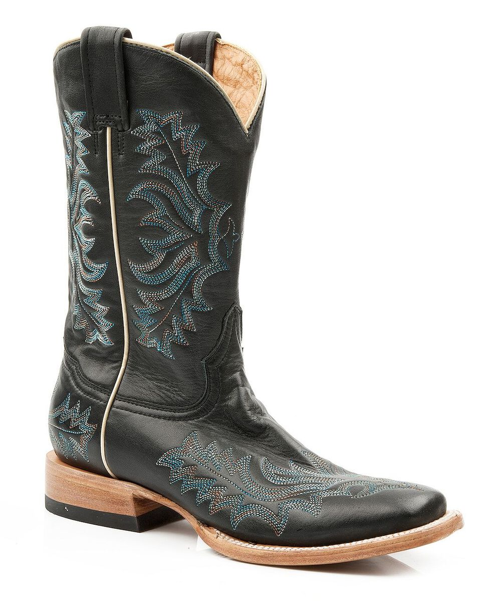 Stetson Burnished Blue Stitched Cowgirl Boots - Square Toe, Black, hi-res
