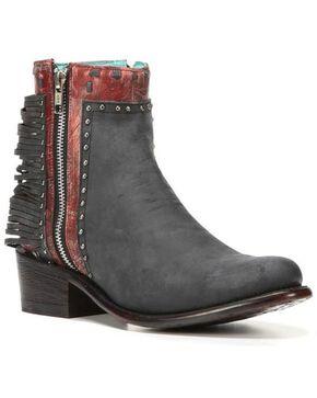 Corral Women's Black Zipper and Studs Booties - Medium Toe , Black, hi-res