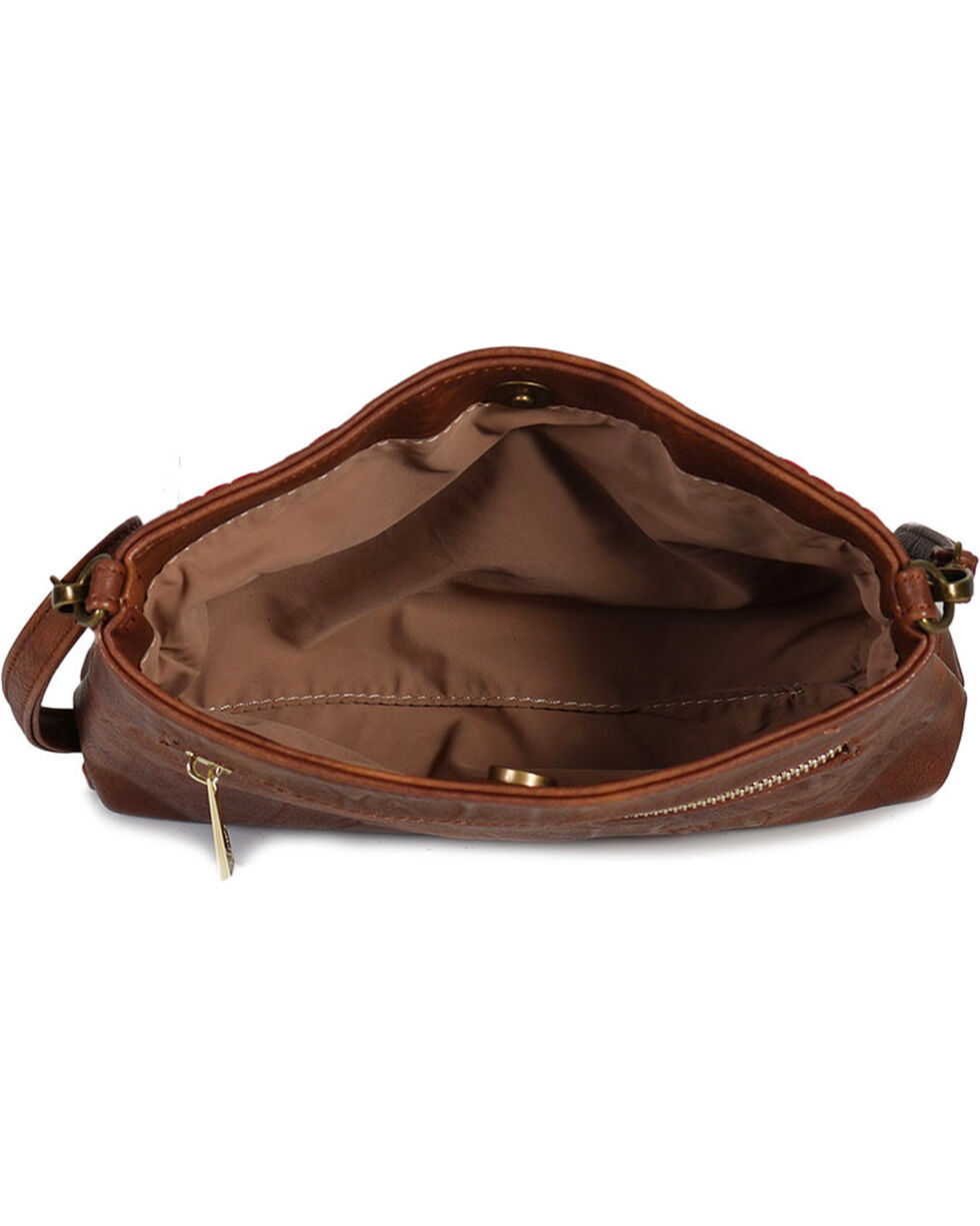 Catchfly Women's Embroidered Americana Crossbody Bag, Brown, hi-res