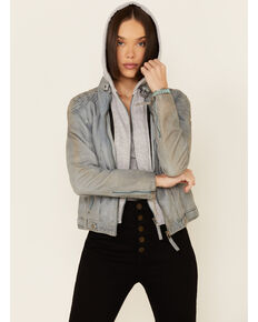 Mauritius Leather Women's Casha Blue Zip-Front Hooded Leather Jacket , Blue, hi-res