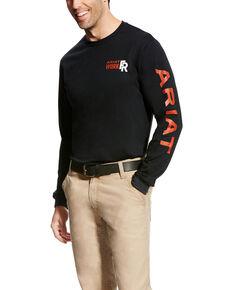 Ariat Men's Black FR Logo Long Sleeve Work T-Shirt - Big & Tall, Black, hi-res