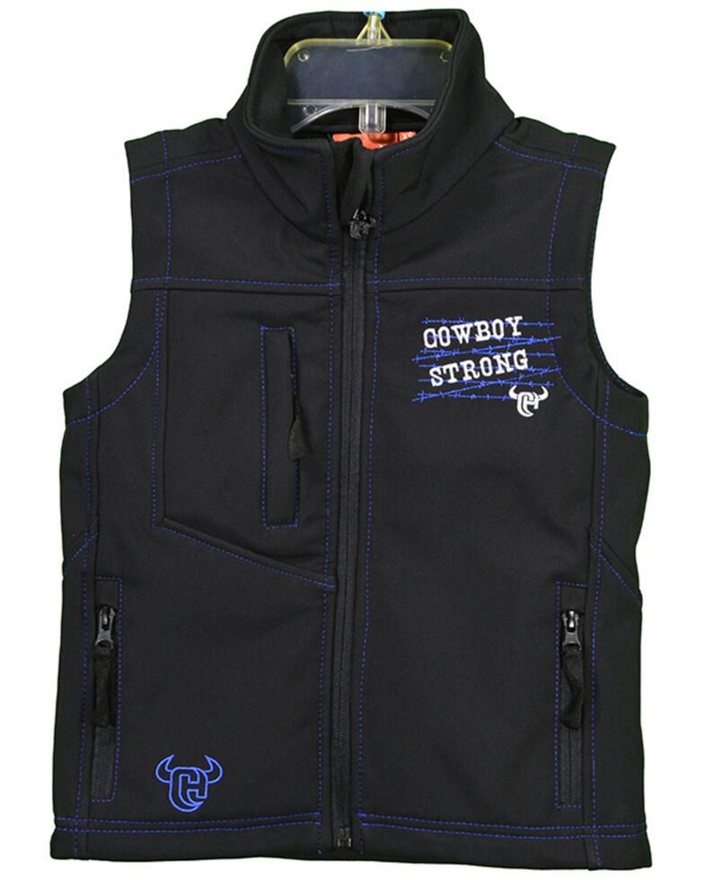 Cowboy Hardware Toddler Boys' Cowboy Strong Poly Shell Vest , Black, hi-res
