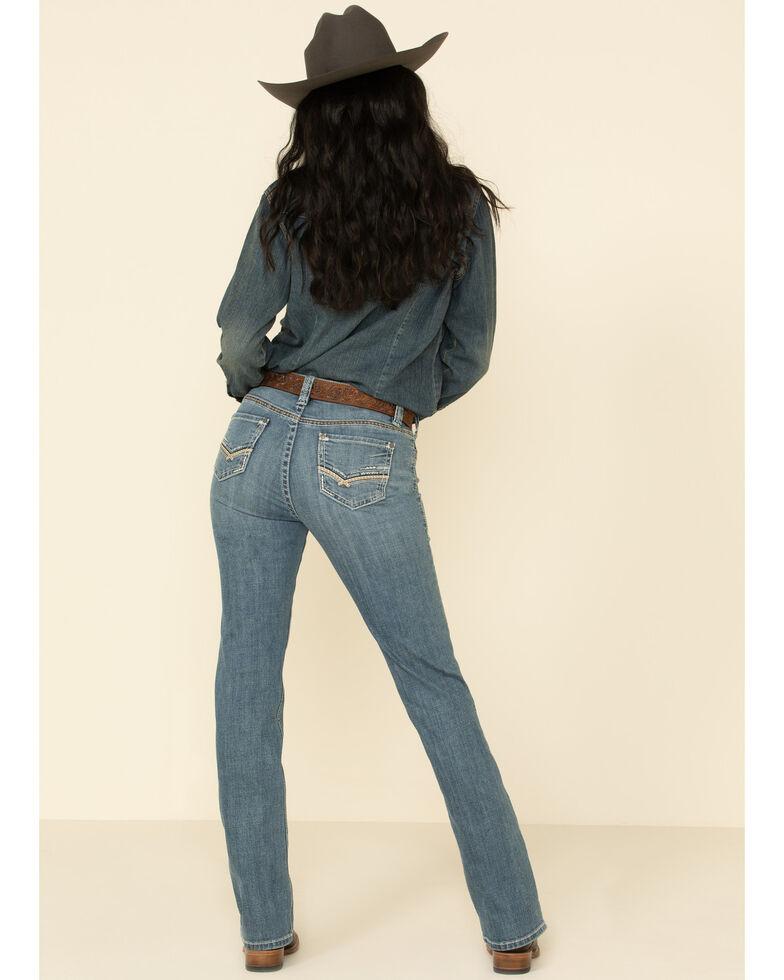 Rock & Roll Denim Women's Light Wash Criss Cross Bootcut Jeans , Blue, hi-res