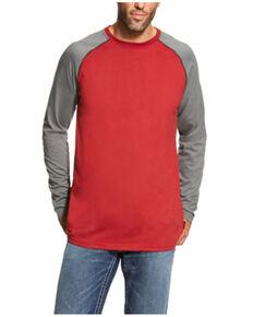 Ariat Men's FR Red & Grey Long Sleeve Baseball Work T-Shirt - Tall , Red, hi-res