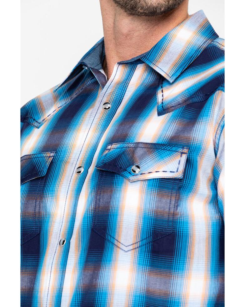 Cody James Men's Sunset Valley Ombre Plaid Short Sleeve Western Shirt - Big , Navy, hi-res