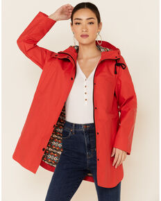 Pendleton Women's Misty Falls Hooded Waterproof Rain Jacket , Orange, hi-res