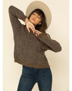Mystree Women's Brown Knit Chevron Weave Sweater , Brown, hi-res