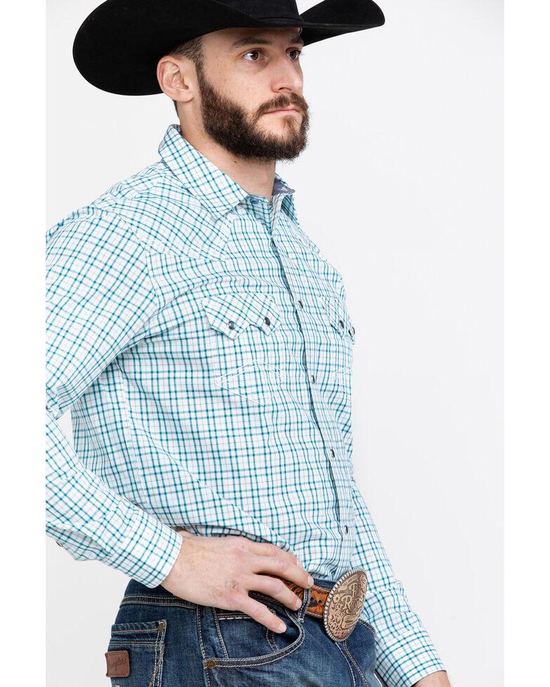 Cody James Men's Grand City Small Plaid Long Sleeve Western Shirt - Big , Turquoise, hi-res