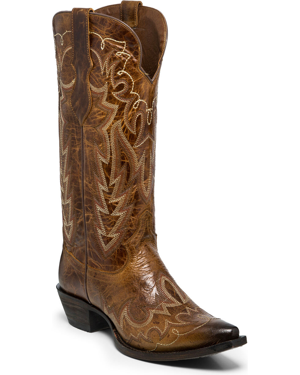 Justin Women's Elina Chocolate Cowgirl Boots - Snip Toe , Brown, hi-res