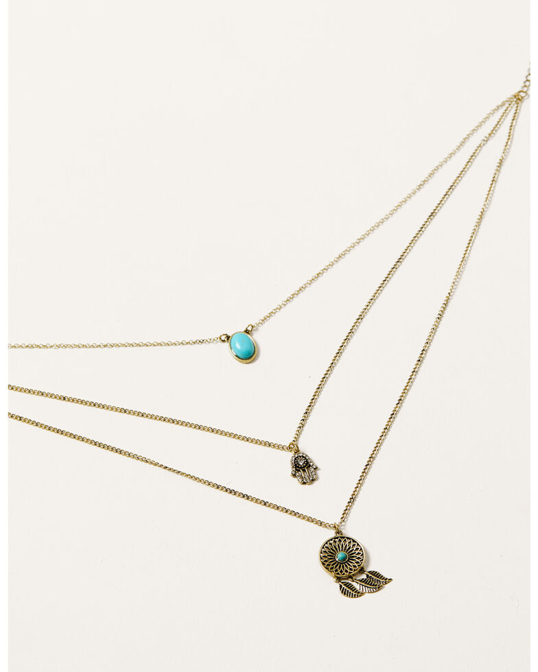 Howard's Women's 3-Row Turquoise Charm Necklace, Turquoise, hi-res