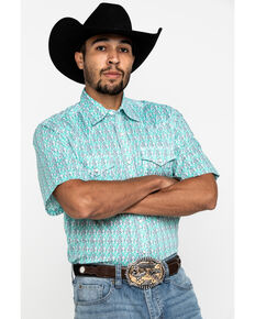Wrangler 20X Men's Advanced Comfort Green Geo Print Short Sleeve Western Shirt , Green, hi-res