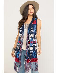 Powder River Outfitters Women's Aztec Jacquard Vest, Navy, hi-res