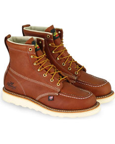 "Thorogood Men's 6"" American Heritage Wedge Sole Work Boots - Soft Toe, Tan, hi-res"