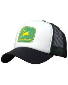 John Deere Boys' Black & White Logo Patch Mesh-Back Ball Cap , Black, hi-res