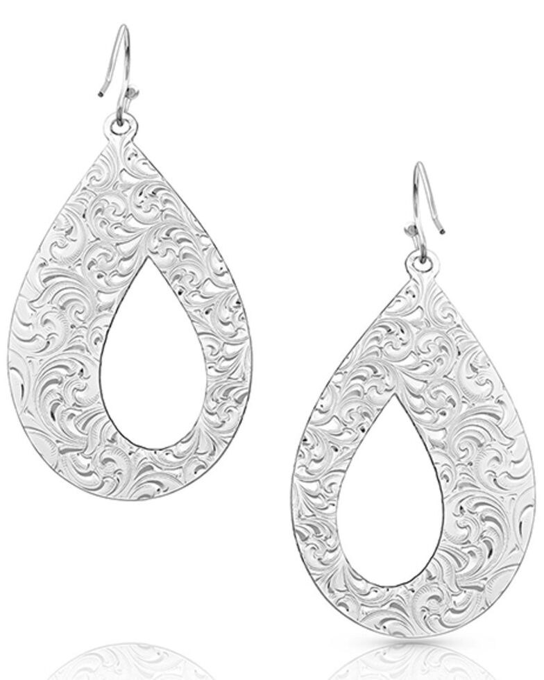 Montana Silversmiths Women's Unforgettable Teardrop Earrings, Silver, hi-res