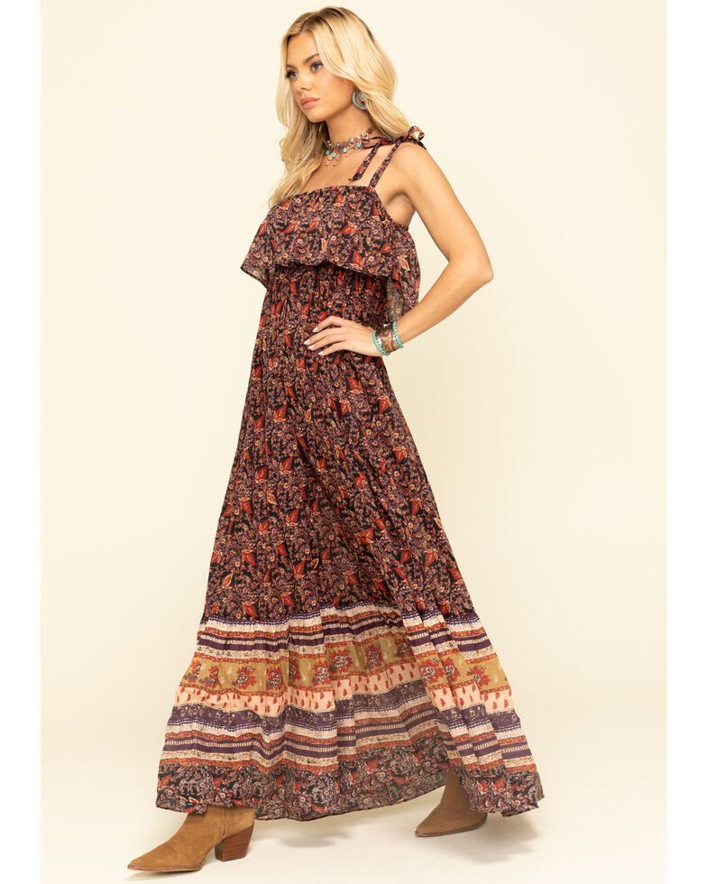 Free People Women's Tangier Babydoll Midi Dress, Black, hi-res