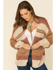 Elan Women's Striped Open Cardigan , Mauve, hi-res
