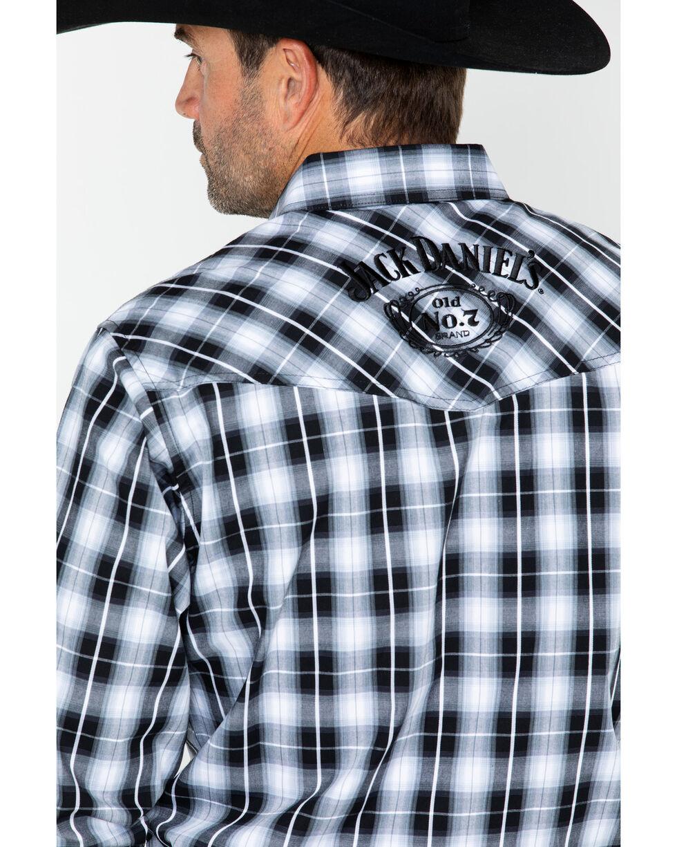 Jack Daniels Men's Textured Plaid Long Sleeve Shirt, Black/white, hi-res
