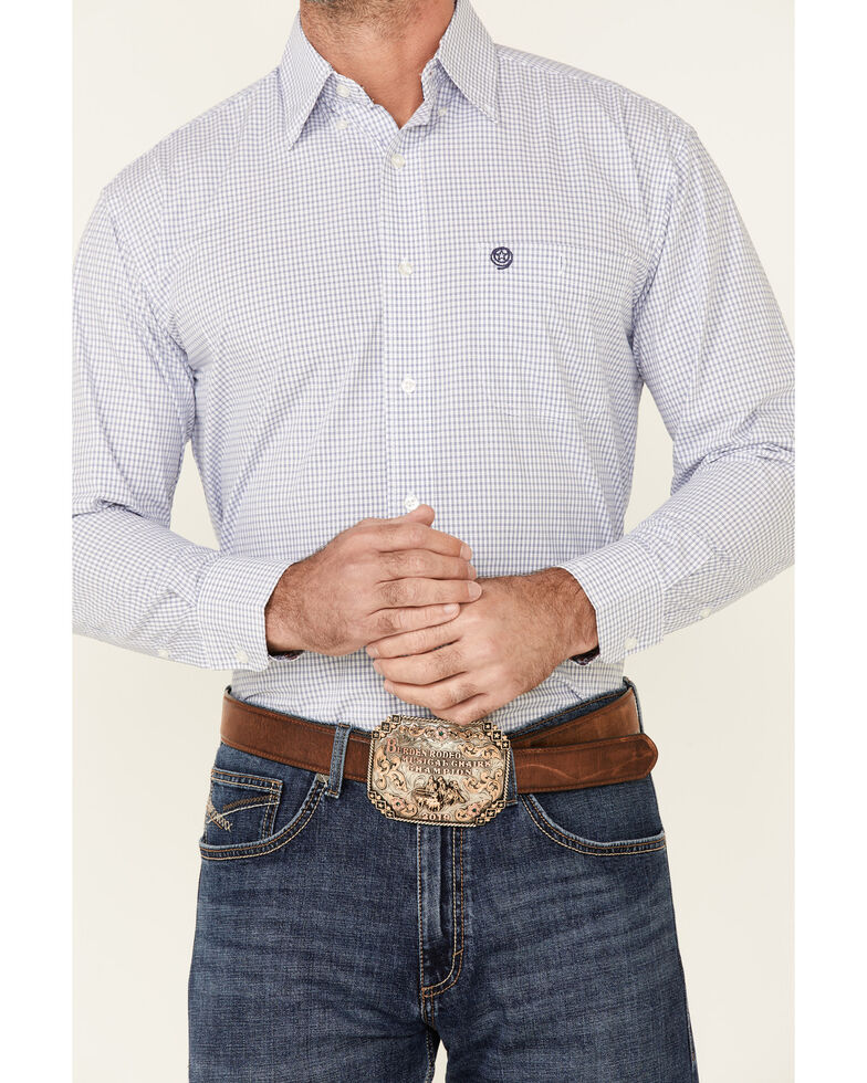 George Strait By Wrangler Men's Small Plaid Long Sleeve Button-Down Western Shirt - Tall, White, hi-res