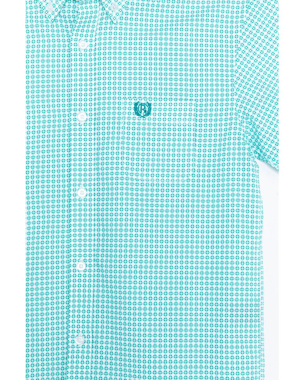 Panhandle Boys' Peached Poplin Print Snap Short Sleeve Western Shirt , Turquoise, hi-res