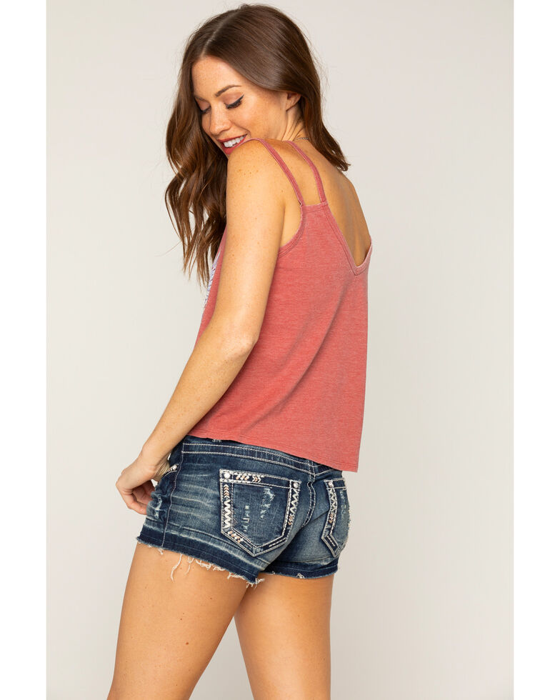 """Shyanne Women's """"Electric West"""" Crop Top Double Strap Tank, Red, hi-res"""