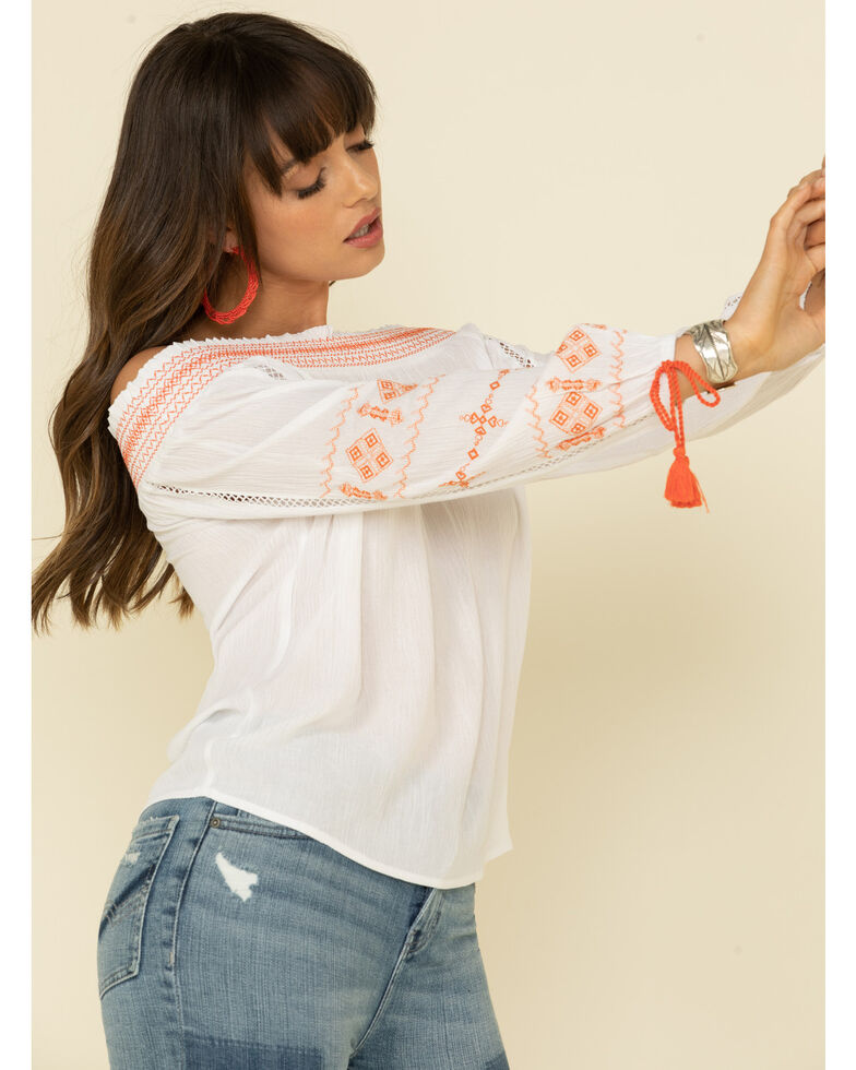 Wrangler Women's Embroidered Tassel Off Shoulder Top, Ivory, hi-res
