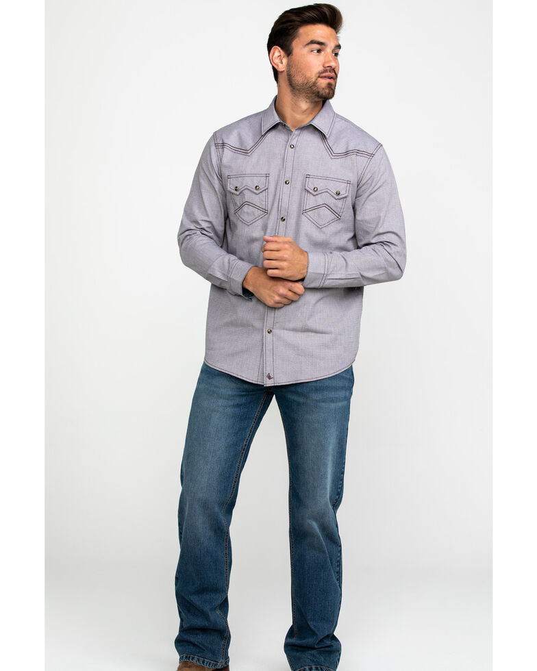 Cody James Men's Two Step Geo Print Long Sleeve Western Shirt , Brown, hi-res