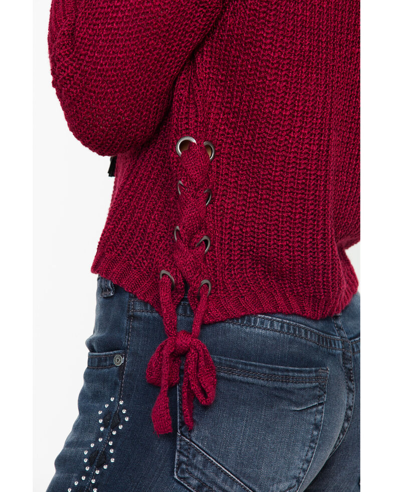 Eyeshadow Women's Cropped Pullover Lace Up Side Detailed Sweater , Wine, hi-res