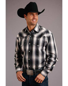 Stetson Men's Black Large Dobby Plaid Long Sleeve Western Shirt , Black, hi-res