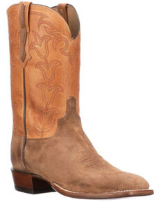 Lucchese Men's Levi Western Boots - Wide Square Toe, Tan, hi-res